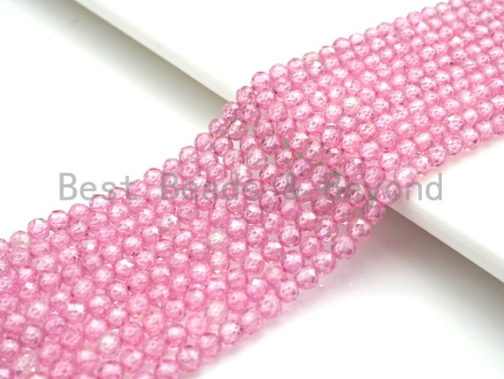 2mm/3mm/4mm High Quality Sparkly Cubic Zirconia Beads, Faceted Sparkly Pink Color beads, 15.5inch full strand, SKU#U918