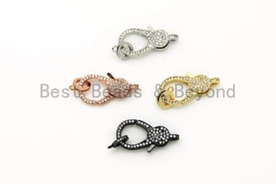 CZ Micro Pave Lobster Claw Clasp, 13x25mm, CZ Pave Clasp, Rose gold/Gold/Silver/Black, sku#H148