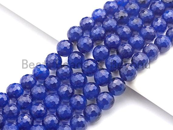 High Quality Natural Navy Blue Color Agate Beads, Round Faceted 6mm/8mm/10mm/12mm, Blue Agate Beads, 15.5inches, sku#U487