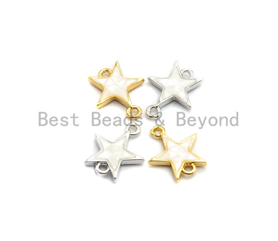 100% Natural White Pearl Shell Star Connector, Gold/Silver Plated Shell Beads, Natural Shell Charm 11x13mm,SKU#Z296
