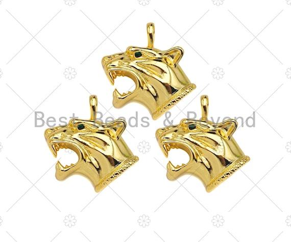 18K Gold Filled Wolf Head Shape Pendant,Green CZ Micro Pave Gold Filled Big Size Charm, Necklace Bracelet Charm Pendant,33x32mm,Sku#Z1340