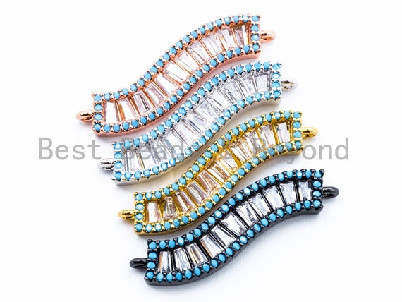 CZ Micro Pave Wavy Connector with Turquoise Edge, Pave Earring/Bracelet/Necklace Charm, 6x30mm,1pc, sku#E168