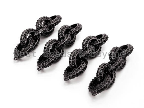 Black CZ Pave On Black Micro Pave Chain Shaped Connector, Cubic Zirconia Oval Link Connector,50x12mm,sku#G315