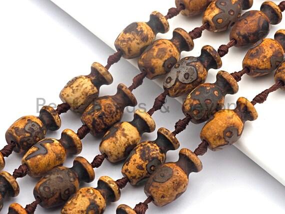 1pc/12pcs Natural Echted Tibetan agate Vase Shape Beads, Dzi Agate Beads, Chunky Tibetan Agate, Ancient Tibetan Beads, 15x25mm, sku#U514