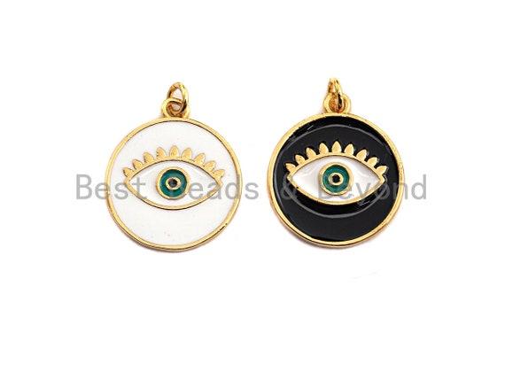 PRE-SELLING Enamel Round with Evil eye charm, Black White Enamel Pendant, Enamel eye charm, protection eye jewelery, 18x21mm,skuZ406