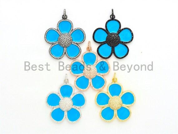 40mm Enamel Turquoise Blue Flower Pendant,CZ Micro Pave Oil Drop Flower pendant,Enamel pendant,Enamel Jewelry,sku#F602
