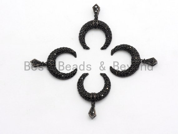 Black CZ Pave On Black Micro Pave Horn Charm Beads, Micro Paved Horn Pendant,19x19mm, sku#B97