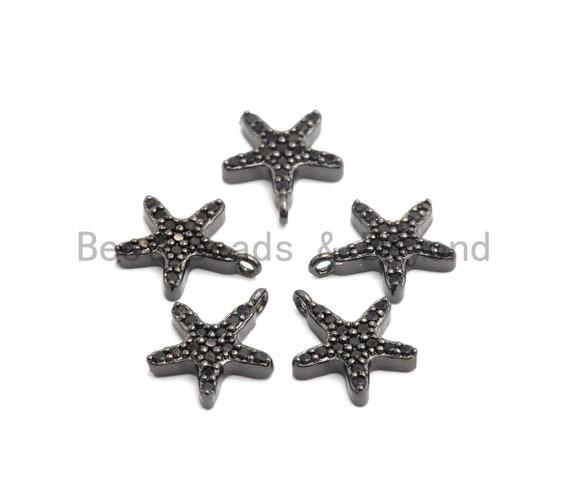 Micro Pave Black CZ Pave On Black Starfish Charm Beads, Starfish Charm, Black color beads, 9x10mm, sku#B100