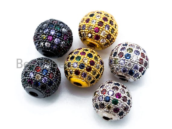 6/8mm/10mm CZ Micro Pave Multi Color Ball Spacer Beads, Rainbow Colored Shamballa Ball Beads, Men's Bracelet Space Beads Charms,1/2pcs, G293