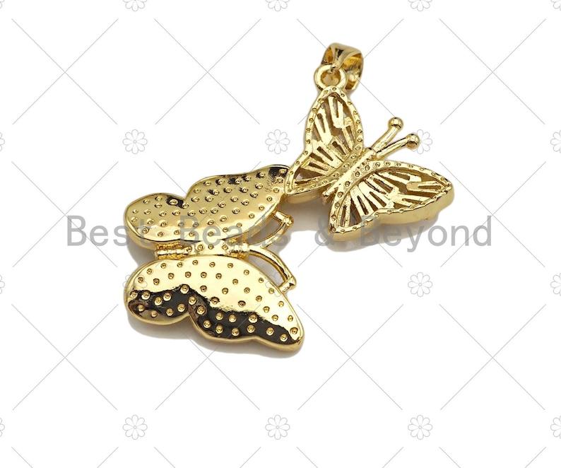 Sku#LK183 Double Bufferfly Charm CZ Micro Pave Butterfly with MOP Butterfly PendantsCharm Colorful Butterfly Pendant 25x32mm