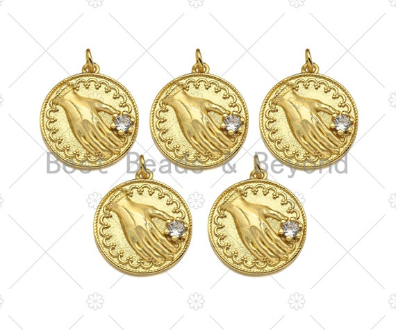 Gold Filled CZ Micro Pave Hand On Round Coin Shape Pendant, 18K Gold Filled Medallion Charm, Necklace Bracelet Charm, 20x18mm,Sku#Z1351