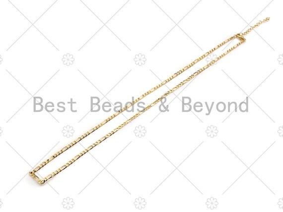 "19""/32""/7"" Dainty Gold Figaro Necklace and Bracelet, Gold Layering Necklace Bracelet, Ready to wear w/Lobster Clasp, sku#LK104"