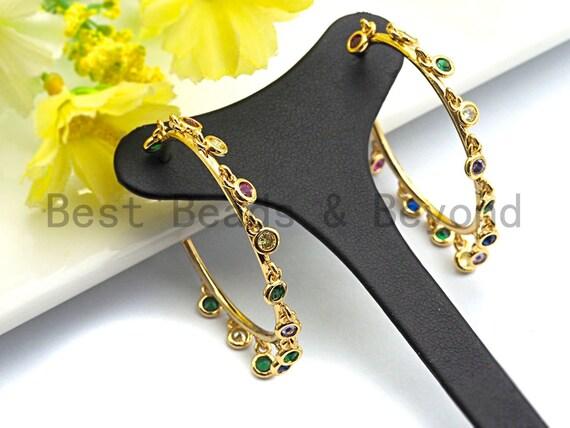 PRE-SELLING Colorful CZ Micro Pave Rainbow Large Hoop Earring, Gold Hoops earrings, Stud Earrings,Minimal earrings, 4x46mm,sku#J126