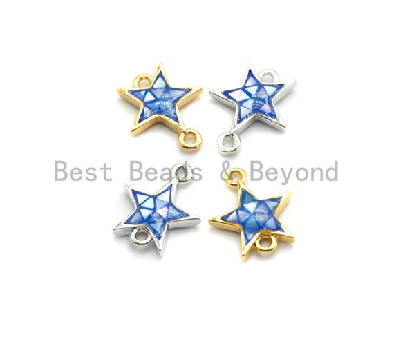100% Natural Shell Blue Star Connector with Gold/Silver Plated Finish, Natural Shell Connector, Star Connector, 11x13mm,SKU#Z295