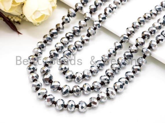 "36""/60"" Knotted Silver Faceted Crystal Necklace, Extra Long Necklace, Metallic 8mm Silver Crystal Beads, 60inch or 36 inch Necklace, SKU#D7"