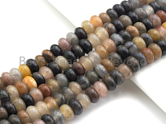 """2mm Large Hole Natural Chinese Tourmaline Beads, Rondelle Smooth 6x10mm/5x8mm, 8"""" Long Strands, sku#U722"""