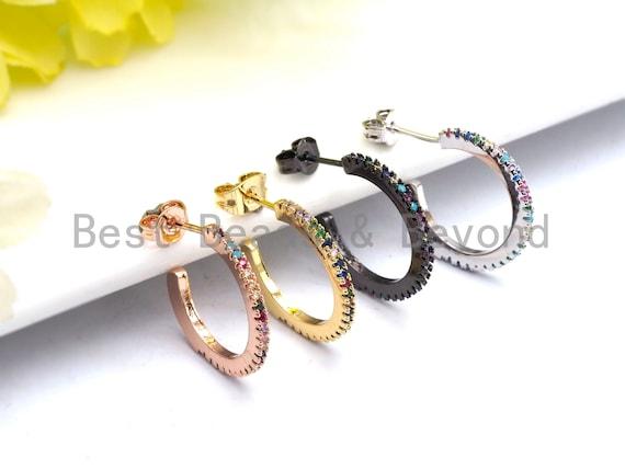 PRE-SELLING Rainbow CZ Micro Pave Wrap Stud Earrings, Huggie ear wire, Cz micro pave earrings, Minimalist Jewelry, 18mm, sku#J47