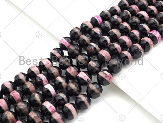 Dzi Agate Faceted Round Beads with Hot Pink Line, 6mm/8mm/10mm/12mm, Red Black Tibetan Beads, Agate Beads, 15.5'' Full Strand,Sku#U1072