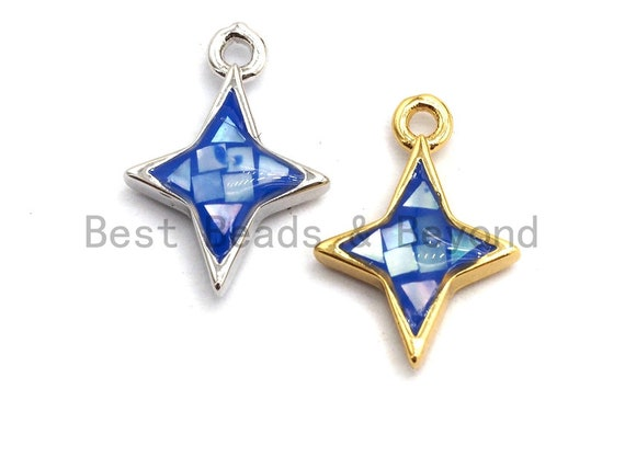 100% Natural Royal Blue Color Shell North Star Pendant Charm, Natural blue shell charm, Jewelry shell Findings, 10x14mm,SKU#Z342