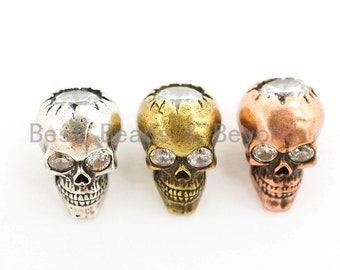 3D Antique Style Skull Bead, CZ Pave Skull Beads, Gold/Silver/Copper Skull Charm, Men's Bracelet Beads, 8.7x12x9.6mm, 1pc, sku#Y139