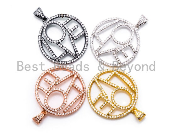 CZ Micro Pave Large LOVE Round Pendant with bail, 26x33mm, Cubic Zirconia Love Pave Pendant Beads, Pave Pendant, SKU#F199