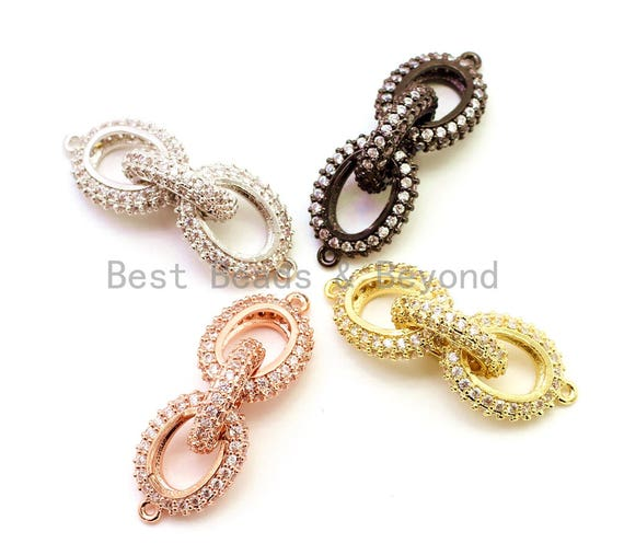 38x12mm CZ Micro Pave Chain Shaped Connector, Cubic Zirconia Oval Link Connector, sku#G98
