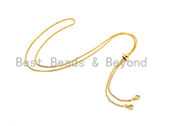"1pc/5pc Sliding Adjustable Continuous Necklace Making Chain, half-finished Necklace, Rubber stopper beads, Pendant Box Chain, 24""/32"",#P44"