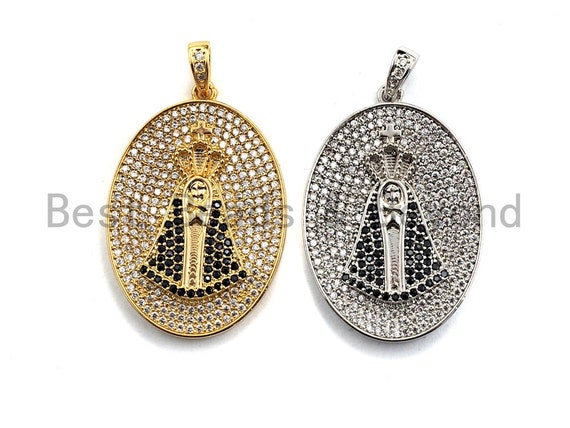 Pre-Selling CZ Micro Pave Cross on Oval Pendant, Cubic Zirconia Pendant, Silver/Gold plated, Religious Jewelry, 24x34mm, Sku#F877