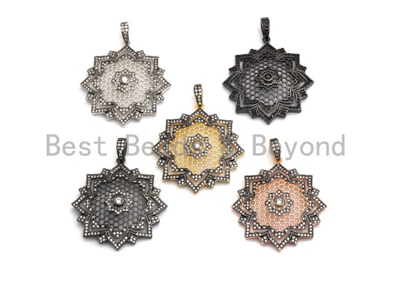 PRE-SELLING Large CZ Micro Pave Dual Color flower Star Burst Pendant, Cubic Zirconia Rose Gold/Silver/Black Focal Pendant, 36x39mm,sku#F634