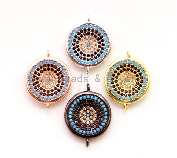 CZ Micro Pave Turquoise Coin Evil Eye Connector for Necklace/Bracelet, Cubic Zirconia Space Charm Connector, 14x18mm,sku#E12