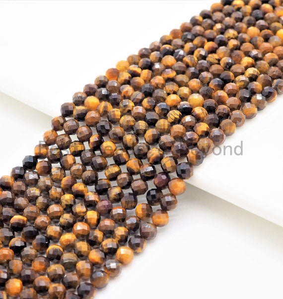 High Quality Natural Yellow Brown Tiger Eye Round Faceted Beads, 2mm/3mm/4mm Tiger Eye Beads,15.5inch strand,SKU#U361