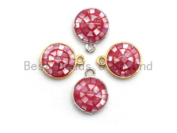 100% Natural HOT PINK Shell Round Pendand in Gold/Silver Finish, Fuchsia Pink Shell Charm Pendant, Shell Findings, 10x12mm,SKU#Z323