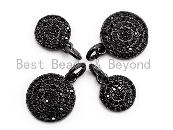 Black CZ Pave On Black Micro Pave Coin Charm, Round Disc Pave Charm, Pave Dangle Charms,11x13/8x10mm, Sku#F365