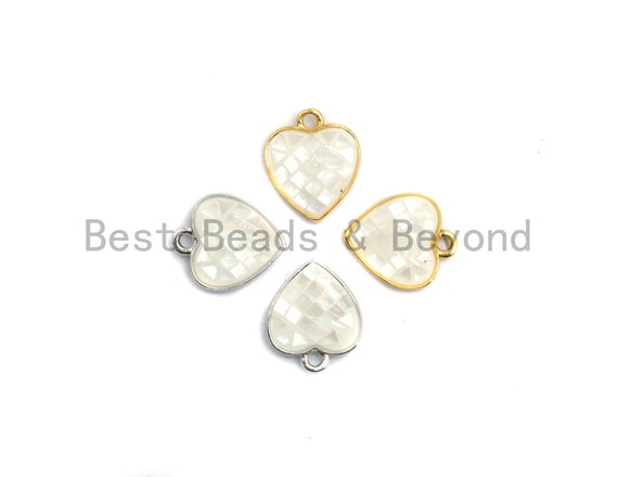 100% Natural White Shell Heart Shape Pendant with Gold/Silver Finish, White heart Pendant, Shell heart, 10x12mm,SKU#Z313