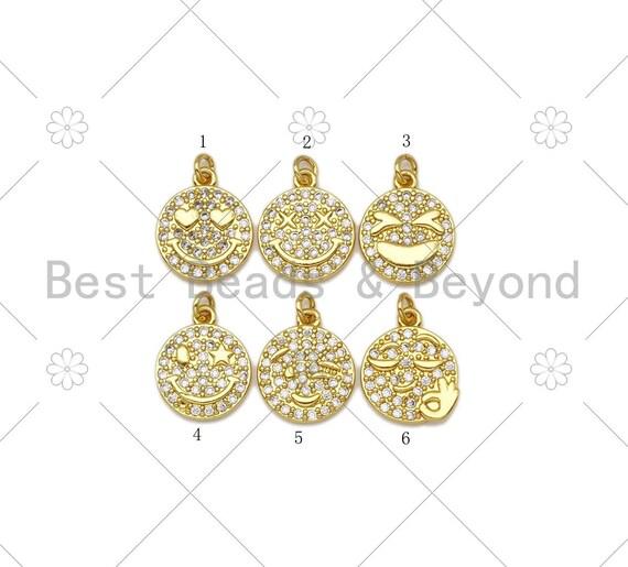 CZ Micro Pave Cute Smiley Face Round Coin Shape Pendant, 18K Gold Filled Smiley Face Charm, Necklace Bracelet Pendant,13x16mm,Sku#JL52