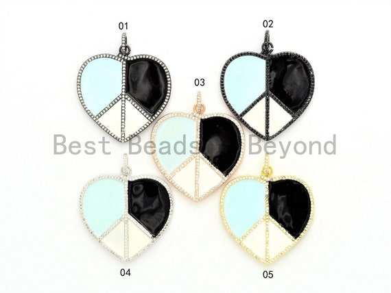 40mm Large Enamel Colorful Peace Heart Shape Pendant,CZ Micro Pave Oil Drop pendant, Enamel pendant, Black/White Enamel, sku#F580