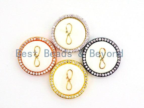 CZ Micro Pave Gilding Infinity Symbol on Mother of Pearl Round Beads, Pave Pendant Connector Beads for Bracelet/Necklace, 19mm,sku#Z246