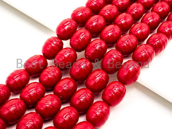 Red Natural Mother of Pearl beads,15x12mm Pearl Carved Oval beads, Loose Oval Smooth Pearl Shell Beads, 16inch strand, SKU#T91