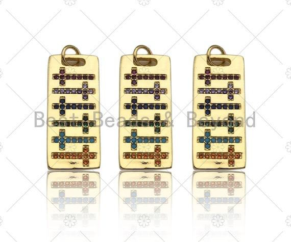 Colorful CZ Micro Pave Cross On Rectangle Shape Pendant, Cubic Zirconia Rectangle Pendant, Gold Tone Pendant, 10x24mm, sku#LK179