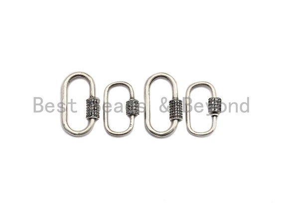 CZ Micro Pave Oval Shape Clasp, Antique Silver Carabiner Clasp, 13x24mm/15x29mm, sku#H165