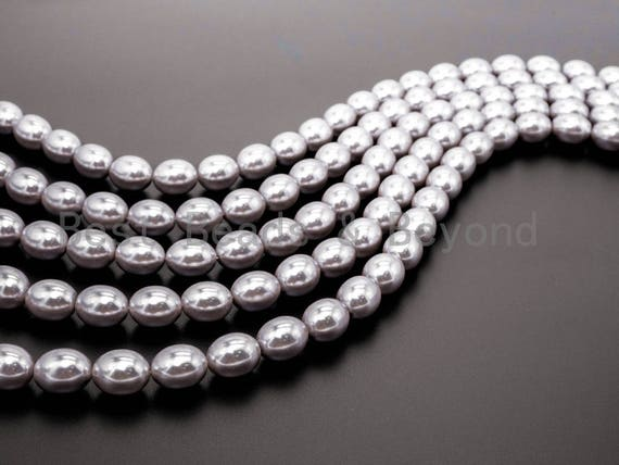 Gray Natural Mother of Pearl  Oval beads,12x15mm Pearl Olive beads, Loose Olive Smooth Pearl Shell Beads, 16inch strand, SKU#T80