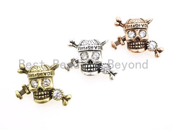 Antique Pirate Skull Paracord Beads, For Paracord Bracelet Survival Bracelet EDC Bracelet Lanyard Making, DIY Jewelry 20x26mm, 1pc, sku#Y91