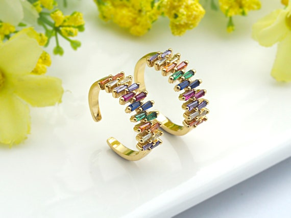 PRE-SELLING Colorful CZ Micro Pave Ring, Rainbow Cubic Zirconia Gold Ring, Adjustable Ring, 7x20x18mm,sku#X18