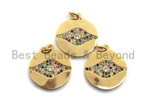 PRE-SELLING CZ Colorful Micro Pave Round Gold With Evil Eye Pendant, Coin Shaped Pave Pendant, Gold plated,18x20mm, Sku#F868