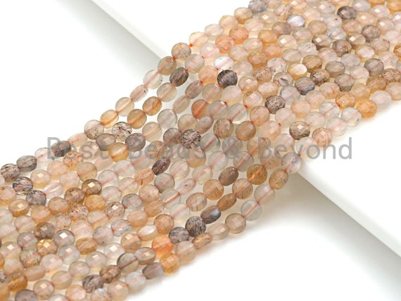 """High Quality Natural Mixed Color Moonstone Checkerboard Cut beads, 4mm Turtle Shell Cut Moonstone Beads, 16"""" Full Strand, sku#U783"""