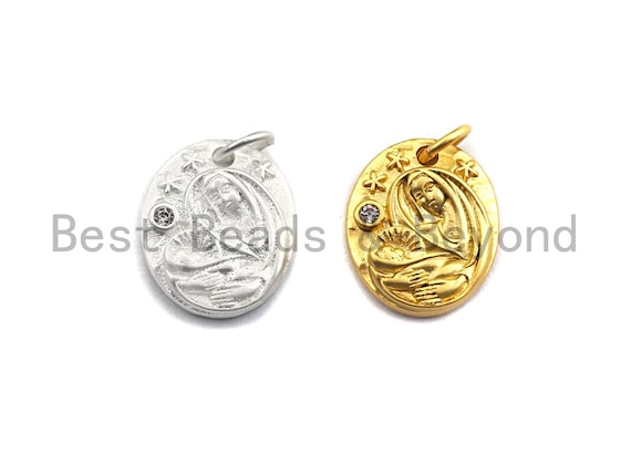 CZ Micro Pave Oval With Virgin Mary and Baby Jesus Pendant,Cubic Zirconia Oval Charm, Silver/Gold Pendant,12x14mm,sku#Y213