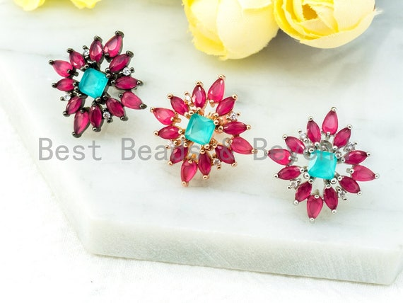CZ Micro Pave Ruby Blue Flower Star Ear Studs, CZ Pave Earrings, Rose Gold Black Silver plated Earring,22x22mm,1pair, sku#O50