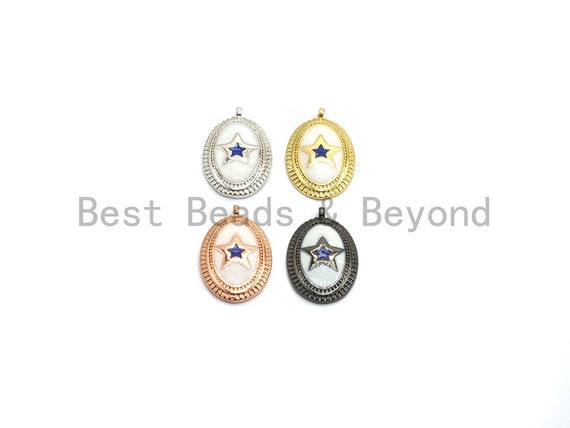 CZ Pave Enamel Oval With Star Pendant, Gold/Rose gold/Black/Silver, CZ Micro Pave Oil Drop Oval pendant,Enamel Jewelry,12x19mm,sku#Z260