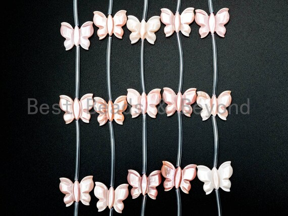 1/10pcs Natural Mother of Pearl beads, 16x20mm Light Pink Pearl Butterfly Carved Beads, SKU#T101