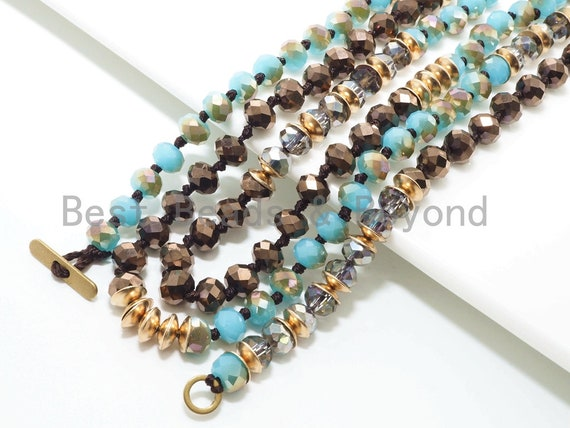 "NEW STYLE 36"" Long Hand Knotted Multi Color Crystal Necklace Chain, with Toggle, 4x6mm Crystal with Brass Spacer Beads, SKU#D29"